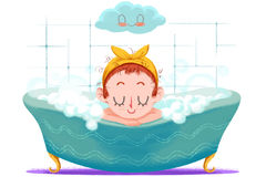 Creative Illustration and Innovative Art: Small Girl is Taking a Happy Bath in the Tub. Realistic Fantastic Cartoon Style Artwork Scene, Wallpaper, Story Royalty Free Stock Photos