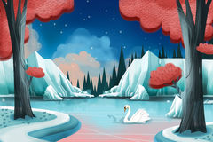 Creative Illustration and Innovative Art: Swan Lake. Realistic Fantastic Cartoon Style Artwork Scene, Wallpaper, Story Background, Card Design Stock Photo