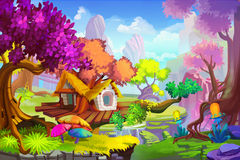Creative Illustration and Innovative Art: The Tree House Scene. Royalty Free Stock Photo