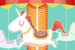 Creative Illustration and Innovative Art: Unicorn Merry Go Round Wooden Horses. Royalty Free Stock Images