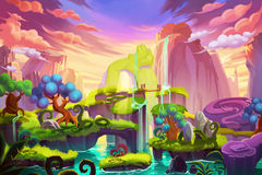 Creative Illustration and Innovative Art: Waterfall Island. Realistic Fantastic Cartoon Style Artwork Scene, Wallpaper, Story Background, Card Design Stock Images