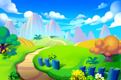 Creative Illustration and Innovative Art: Way to Mountain. Realistic Fantastic Cartoon Style Artwork Scene, Wallpaper, Story Background, Card Design Royalty Free Stock Photo