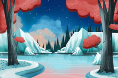 Creative Illustration and Innovative Art: Winter Lake. Realistic Fantastic Cartoon Style Artwork Scene, Wallpaper, Story Background, Card Design Royalty Free Stock Image