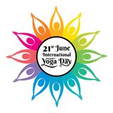 International yoga day poster. Creative illustration of international yoga day poster, colorful yoga pose round style Royalty Free Stock Photo