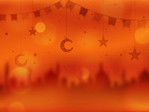 Creative illustration for Islamic Festivals celebration. Creative Blurred Mosque with Hanging Crescent Moons, Stars and Buntings decoration, Beautiful Islamic Royalty Free Stock Images
