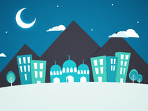 Creative Illustration for Islamic Festivals Celebration. Creative Illustration of Urban City with a Islamic people offering Namaz (Muslim Prayer) in Mosque for vector illustration