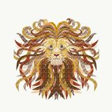 Creative illustration of a lions head, painted smooth lines, wi. Th lush mane, filled with various patterns, design work Royalty Free Illustration