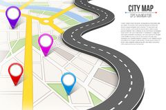 Creative  illustration of map city. Street road infographic navigation with GPS pin markers and pointers. Art design. City r. Oute and infrastructure. Abstract Royalty Free Stock Images