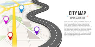 Creative  illustration of map city. Street road infographic navigation with GPS pin markers and pointers. Art design. City r. Oute and infrastructure. Abstract Royalty Free Stock Photo