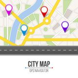 Creative  illustration of map city. Street road infographic navigation with GPS pin markers and pointers. Art design. City r. Oute and infrastructure. Abstract Stock Photography