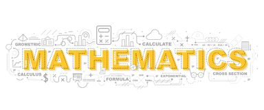 Creative Illustration Of Mathematics With Line Icon royalty free illustration
