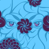 Mysterious Ultra Violet Eyes on a Blue Background. Creative illustration with a mysterious violet eyes and flowers, blue leaves. Hand-drawn design for fashion Royalty Free Stock Photos