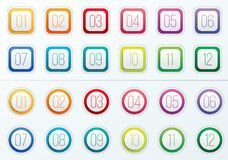 Creative illustration of number bullet points set 1 to 12 isolated on transparent background. Art design. Flat color gradie. Nt web icons template. Abstract Royalty Free Illustration