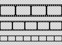 Creative  illustration of old retro film strip frame set  on transparent background. Art design reel cinema filmstri. P template. Abstract concept graphic Royalty Free Stock Photography