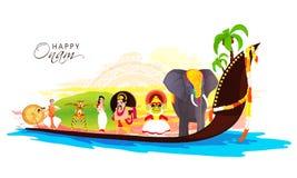 Creative illustration for Onam Festival celebration. Creative illustration showing culture of Kerala as Decorated Elephant, Kathakali Dancer, King Mahabali Stock Image