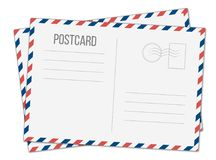 Creative illustration of postcard isolated on transparent background. Postal travel card art design. Blank airmail mockup t. Emplate. Abstract concept graphic royalty free illustration