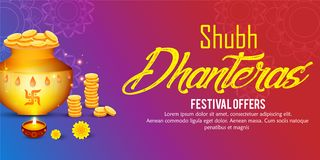 Creative illustration, poster or banner with decorated pot filled with gold coins of Happy dhanteras, diwali festival stock illustration