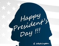 Creative illustration, poster or banner of Happy Presidents Day! - February 19th. George Washington head silhouettes stock illustration