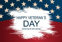Creative illustration,poster or banner of happy veterans day with USA flag as a background. Creative vector illustration,poster or banner of happy veterans day Stock Images