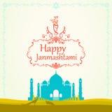 Creative illustration,poster or banner for indian festival of ja. Nmashtami celebration vector illustration