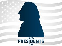 Creative illustration, poster or banner of Presidents Day! - February 19th. George Washington silhouettes Stock Images