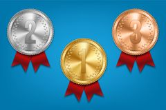 Creative  illustration of realistic gold, silver and bronze medal set on colorful ribbon isolated on transparent background. Art design placement in sport Royalty Free Stock Images