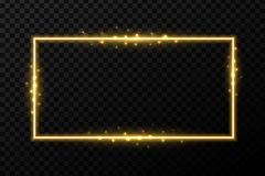 Creative  illustration of shiny golden glowing frames with light isolated on transparent background. Art design glittering e. Ffect sparks. Abstract concept Royalty Free Stock Images