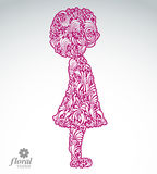Creative illustration of a shy girl with a short hair. Cute teen Royalty Free Stock Images