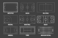 Creative  illustration of sport game fields marking isolated on background. Graphic element for handball, tennis, american f. Ootball, soccer, baseball Stock Photo