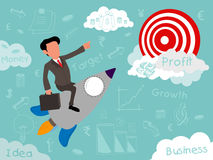 Creative illustration of start up business elements. Creative start up business infographic layout with illustration of a businessman flying on rocket for Royalty Free Stock Image