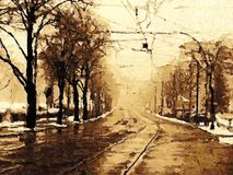Creative Illustration - Street on a Rainy November Afternoon - Digital Oil Painting. A digital oil painting of a rainy street on a november afternoon in Berlin Royalty Free Stock Photos