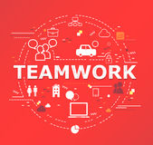 Creative illustration of Teamwork word lettering typography Stock Images