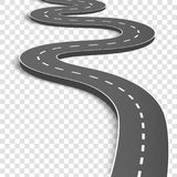 Creative  illustration of winding curved road. Art design. Highway with markings. Direction, transportation set. Abstract co. Ncept graphic element. Way location Royalty Free Stock Photo