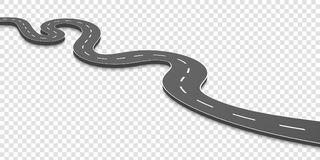 Creative  illustration of winding curved road. Art design. Highway with markings. Direction, transportation set. Abstract co. Ncept graphic element. Way location Stock Images
