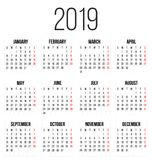 Creative illustration of 2019 year colorful calendar isolated on transparent background. Art design blank mockup template e. Creative illustration of 2018 year Vector Illustration