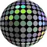 Holographic metal ball 3d graphic on white background isolated. stock illustration