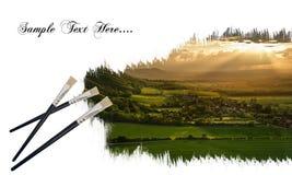 Creative Image Of Paint Brushes Painting Landscape Stock Photo