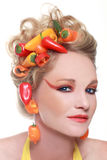 Creative Image of Peppers Integrated into Hair Royalty Free Stock Image