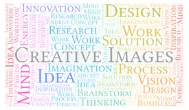 Creative Images word cloud, made with text only. vector illustration