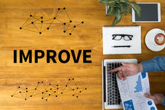 Creative Improve Ideas To Inspiration. Work Flow royalty free stock photography