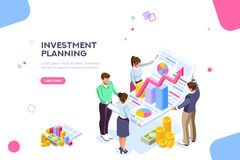Creative Income Planning for Sale Concept. Creative income planning for sales. Teamwork, account company, increase corporate result. Growth concept with royalty free illustration