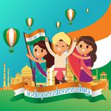 Creative India Independence Day Design Vector Art Logo. Creative India Independence Day Design for various used and purposed just for you the great people royalty free illustration