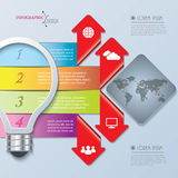 Creative infographic design with bulb, numbers and world map Stock Image