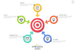 Creative infographic design template. Flower petal diagram with 5 round elements and arrows pointing at shooting target. In center. Five ways to achieve great Stock Image