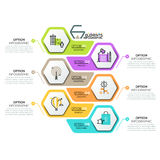 Creative infographic design template with 6 hexagonal elements Royalty Free Stock Image