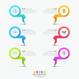 Creative infographic design template - 6 multicolored lettered elements. With pictograms and text boxes. List of company`s features concept. Vector illustration Stock Images