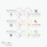 Creative infographic design template, 6 numbered transparent cubes. Connected with text boxes. Features of business project. Vector illustration in thin line Royalty Free Stock Photography