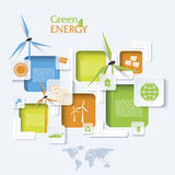 Creative  Infographic design with wind turbines. Green energy concept. Modern template Stock Photography