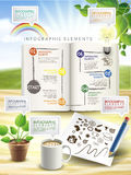 Creative infographic elements  on table Royalty Free Stock Photos