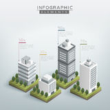Creative infographic template. Design with business buildings chart Royalty Free Stock Image
